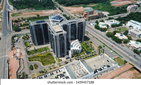 Abuja Federal Capital Territory Nigeria-June 30, 2019: Aerial view of Central Bank Of Nigeria Head Quarters