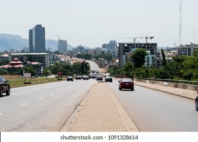 ABUJA- MAY 5 2018: View of Constitution Avenue May 5, 2018 in Abuja. Constitution Avenue is a major road in the Central Business District Abuja, Nigeria