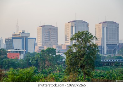 Abuja, Nigeria - March 13, 2014: Federal Ministry of Transport and other high rise buildings in the capital Abuja