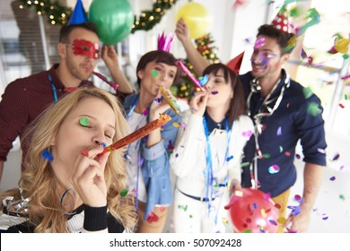 Abundance of confetti and new year party
