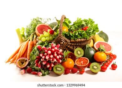 abundance fruit and vegetable isolated on white background