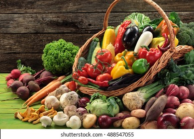 Abundance of organic vegetables culinary herbs and mushrooms in a basket,  still life