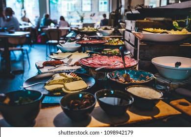 Abundant food table, brunch in coffee shop