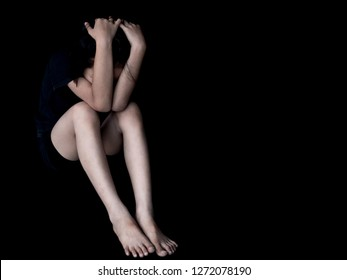 Abused and tortured concept. Human trafficking concept. Stop violence against children. Stop abusing violence.