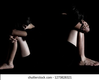 Abused and tortured concept. Human trafficking concept. Stop violence against children. International women's Day. Stop abusing violence.