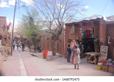 Abyaneh Village, Iran - April 22 2019 Street scene in Abyaneh Village which is the oldest traditional Iranian village characterized by red hue clay buildings      in Isfahan Province, Iran.