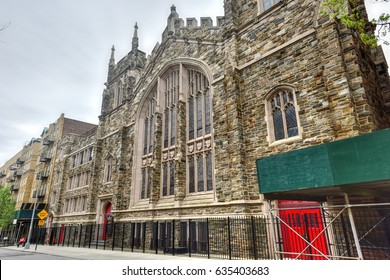 Abyssinian Baptist Church, located at 132 West 138th Street between Adam Clayton Powell Jr. Boulevard and Lenox Avenue in the Harlem neighborhood of Manhattan, New York City, built in 1922-23.