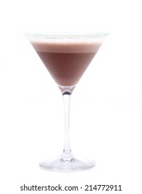 an ac cocktail with chocolate and vodka, known as chocolate martini