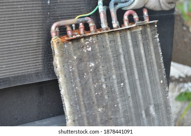 AC Split Evaporator which is dirty like jelly and rust