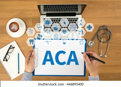 ACA   (Affordable Care Act) Top view, Doctor writing medical records on a clipboard, medical equipment