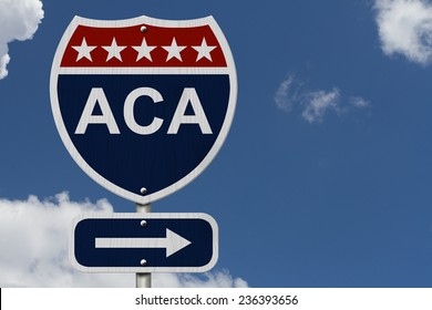 ACA Sign, A red, white and blue highway sign with words ACA and an arrow sign with sky background