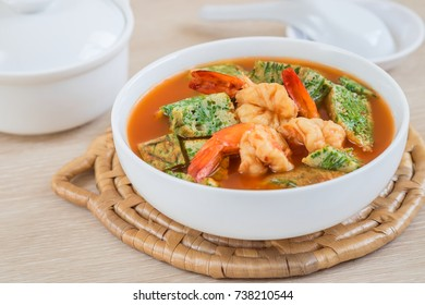 Acacia leave omelet and shrimp in sour soup, Thai food