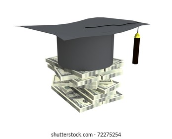 Academic cap and  money  on a white background