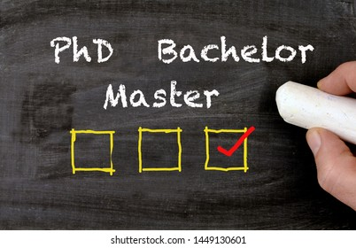 academic decision Bachelor Master PhD blackboard with checkboxes