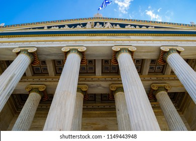 The Academy of Athens facede low angle view, neoclassical building, Greece