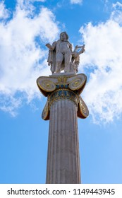The Academy of Athens, neoclassical building, Apollo statue close up, Greece
