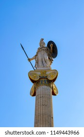 The Academy of Athens, neoclassical building, Athena statue close up, Greece