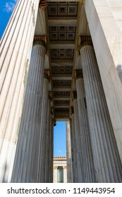 The Academy of Athens, neoclassical building, side view of the entrance columns, Greece
