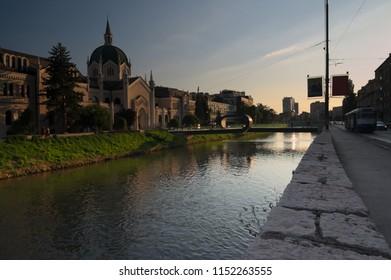 Academy of Fine Arts (Akademija likovnih umjetnosti) located in the city center of Sarajevo next to the Miljacka river.