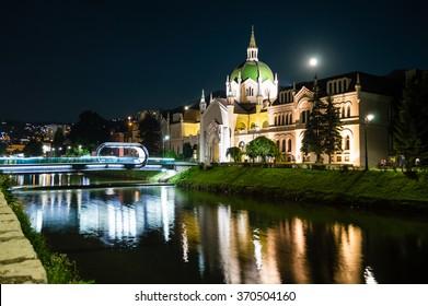 Academy of Fine Arts, Sarajevo, Bosnia and Herzegovina at the night time