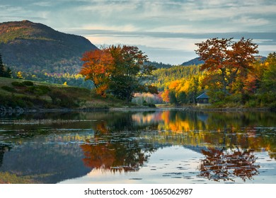 Acadia National Park in the fall during peak foliage season with the reflections in the water