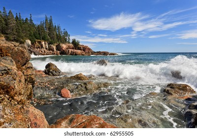 Acadia national park, incoming wave at Otter cliff area
