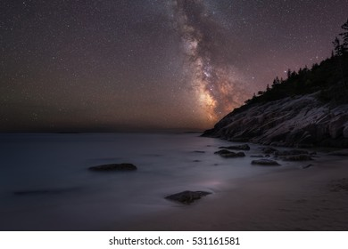 Acadia National Park's Sand Beach under the Milky Way Galaxy.