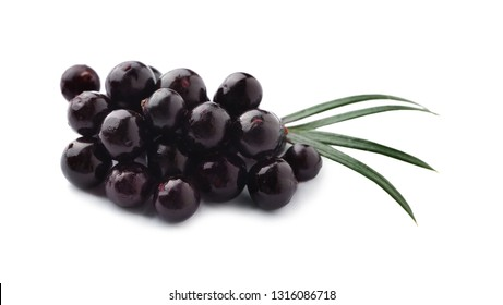 Acai berries on white background