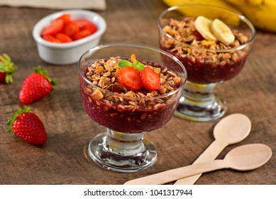 Acai berry on glass cup