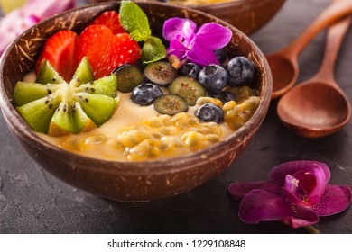 Acai bowl with berries and maraqua, breakfast food. Healthy lifestyle concept.