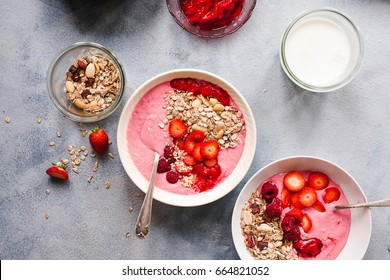 Acai bowl of wild berry and raspberry smoothie