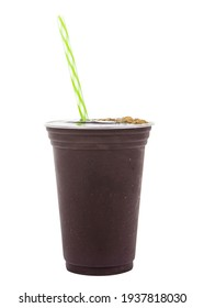 acai cream in the glass and with straw