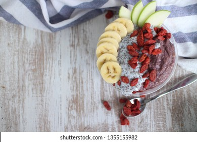Acai Maqui berries Smoothie with Chia pudding.