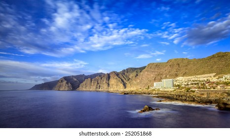 """Acantilados de Los Gigantes (""""Cliffs of the Giants"""") are vertical cliffs along the western coast of Tenerife. In times of the Guanches they were known as the 'Wall of Hell """"."""