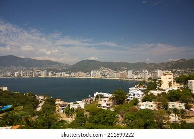 Acapulco bay beaches hotels sun mountains trees Guerrero Mexico
