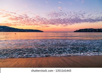 Acapulco, México. Golden and blue hour at Acapulco beach.