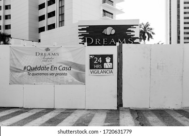 Acapulco, Guerrero / Mexico - 24 April 2020: The Mexican hotel and tourism business being affected by the coronavirus outbreak and nationwide shutdown.  A beach hotel is closed in Acapulco.