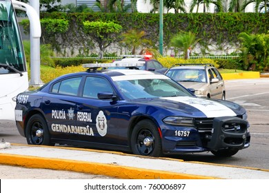 Acapulco, Mexico - May 28, 2017: Police cruiser Dodge Charger in the city street.