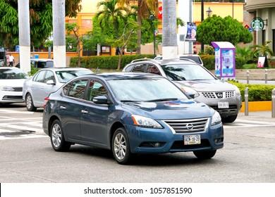 Acapulco, Mexico - May 30, 2017: Motor car Nissan Sentra in the city street.