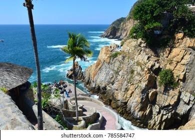 ACAPULCO, MEXICO - NOV 11TH, 2017: Beautiful beach of La Quebrada, in Acapulco, Mexico, on Nov 11th, 2017