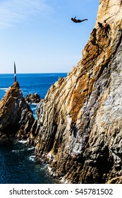 ACAPULCO, MEXICO NOVEMBER 23, 2016 - Cliff diver in the free fly
