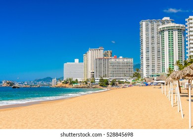 ACAPULCO, MEXICO - OCT 29, 2016: View of the Pacific Coast from the Hotel Elcano, Acapulco, Mexico. It's located on the Av. Costera Miguel Aleman