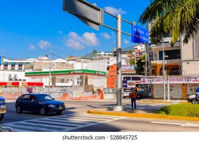 ACAPULCO, MEXICO - OCT 29, 2016: Architecture of Acapulco  de Juarez, a major seaport in the state of Guerrero on the Pacific coast of Mexico