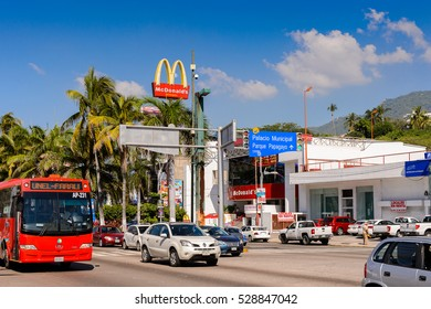 ACAPULCO, MEXICO - OCT 29, 2016: Traffic in Acapulco  de Juarez, a major seaport in the state of Guerrero on the Pacific coast of Mexico