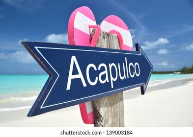 Acapulco sign on the beach
