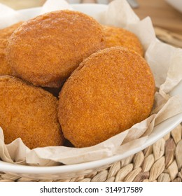 Acaraje - Traditional Brazilian fritters made with black-eyed peas and onions deep fried in palm oil (dende). Typical food from Bahia. Close up.