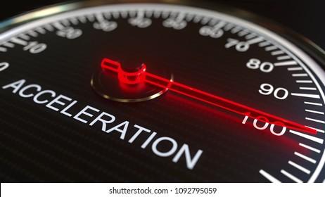 Acceleration meter or indicator, 3D rendering