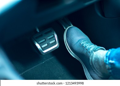 accelerator and breaking pedal in a car