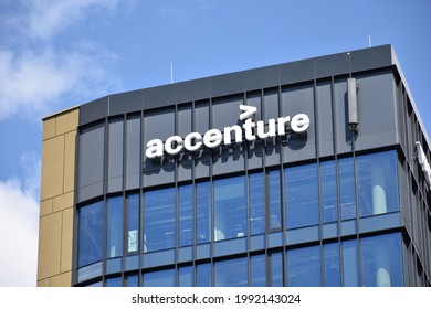 Accenture logo on the facade of multinational business management consultant company. WARSAW, POLAND - MAY 31, 2021