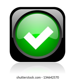 accept black and green square web glossy icon